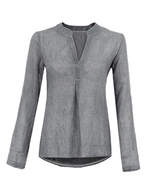 V Neck Long Sleeve Pleated Sexy Solid Linen Shirt