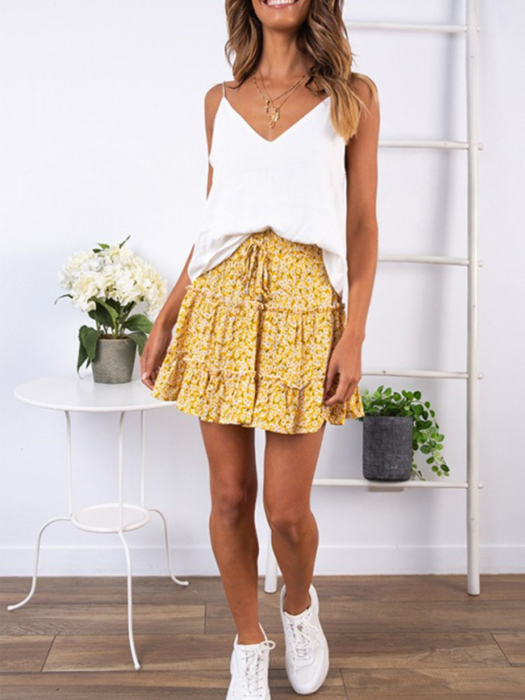 Floral/ Polka Dot/Leopard High Waist A-line Mini Skirt