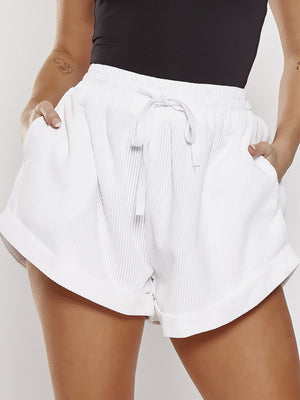 High Waist Corduroy Wide Leg Shorts