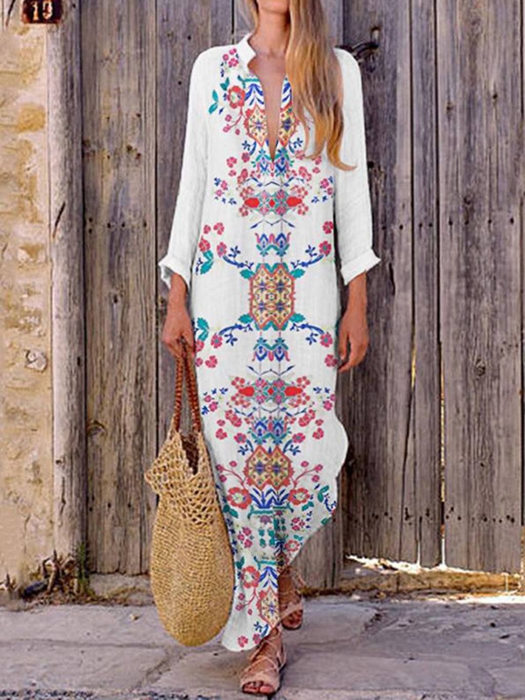 Floral V Neck Long Sleeve Slit Maxi Dress