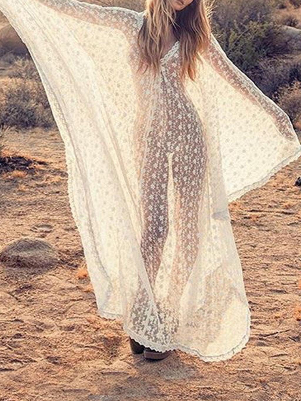 White V Neck Batwing Sleeve Maxi Dress