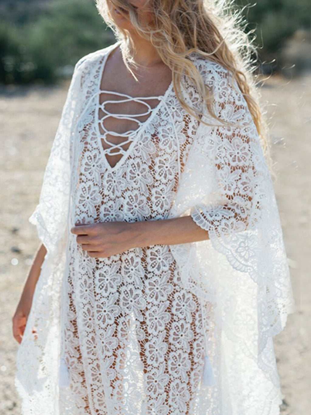 White V Neck Medium Sleeve Lace Hollow Out Maxi Dress