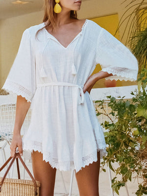 White V Neck Belted Hollow Out Mini Dress