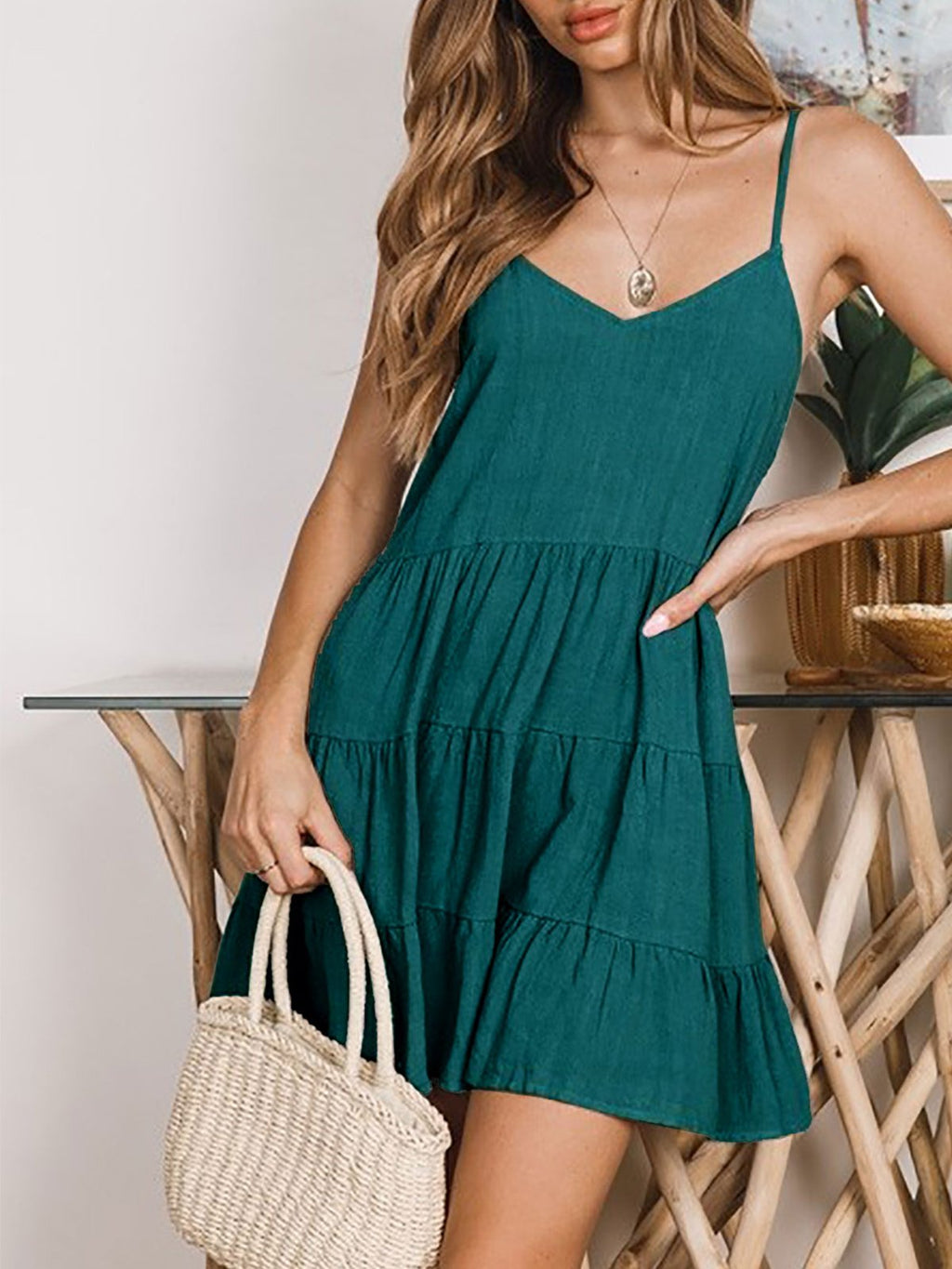 Solid V Neck Spaghetti Strap A-line Backless Mini Dress