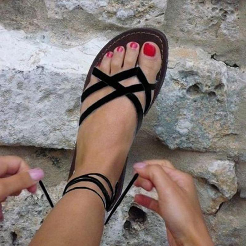 Fashion Ladies Ankle Strap Flats Flip Flops