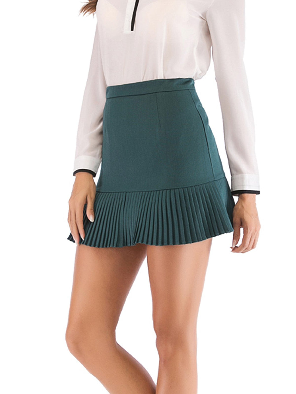 Solid Sweety Tuck Hem Mini Skirt
