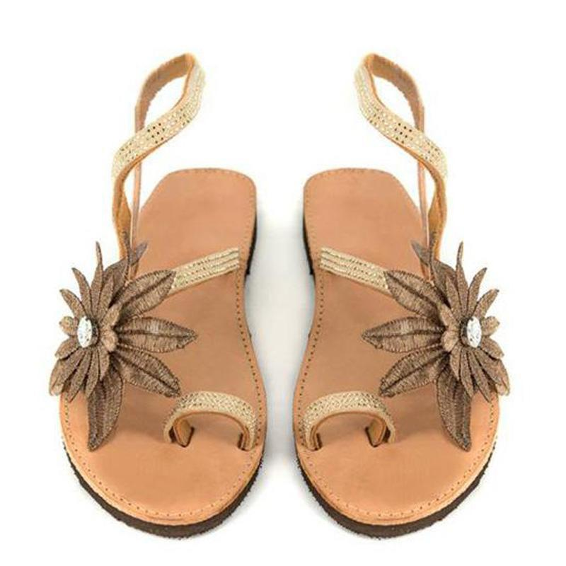 Chic Golden Faux Leather Flat Sole Sandals