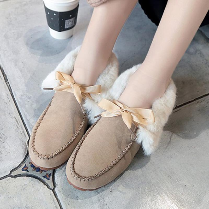 Beige Women Casual Flat Heel Casual Artificial Nubuck Snow Loafers