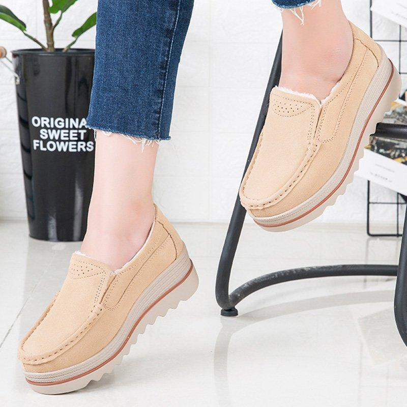 Beige Women Casual Platform Flocking Creepers Athletic Slip On Shoes