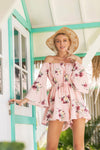 Pink Floral Print Off The Shoulder Trumpet Sleeve Jumpsuit