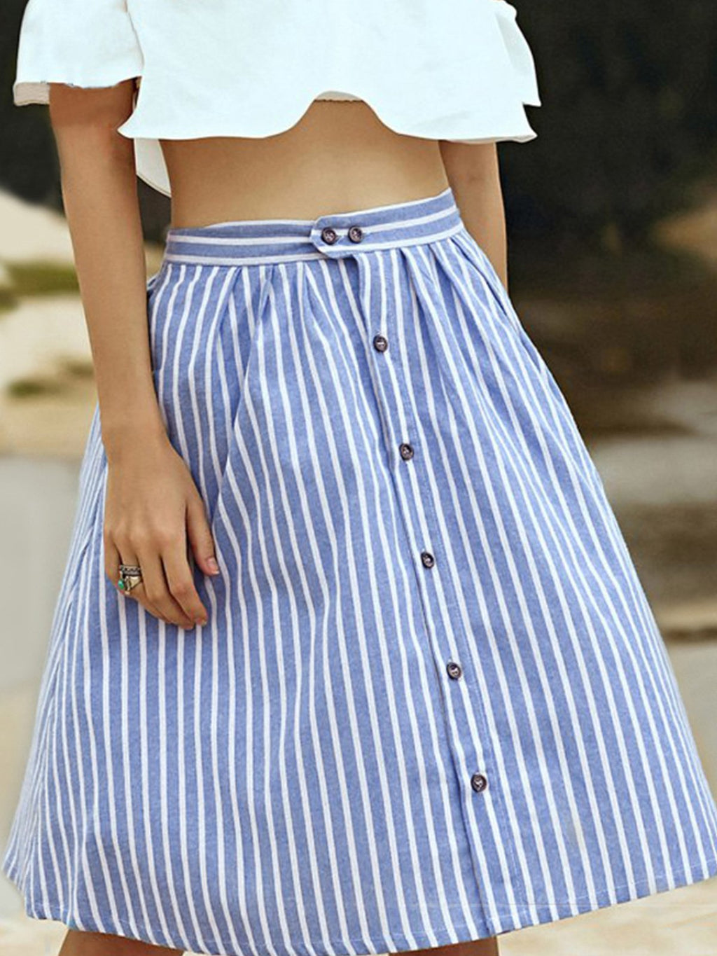 Striped Gathering Midi Buttoned Placket Skirt
