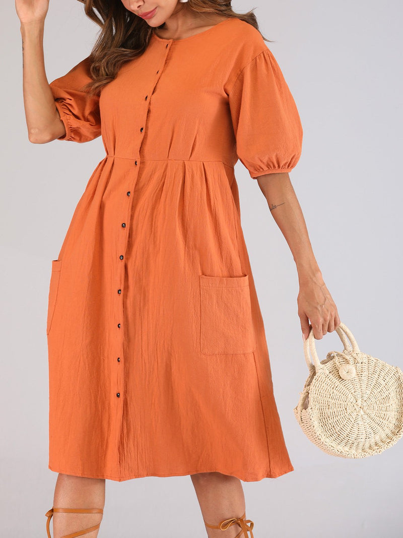 Ling/Cotton Button-down Placket Holiday Style Women Dress