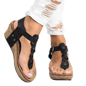 Fashion Large Size Adjustable Buckle Wedge Sandals