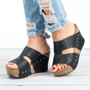 Platform Slippers Wedge Beach Flip Flops High Heel Women Slippers