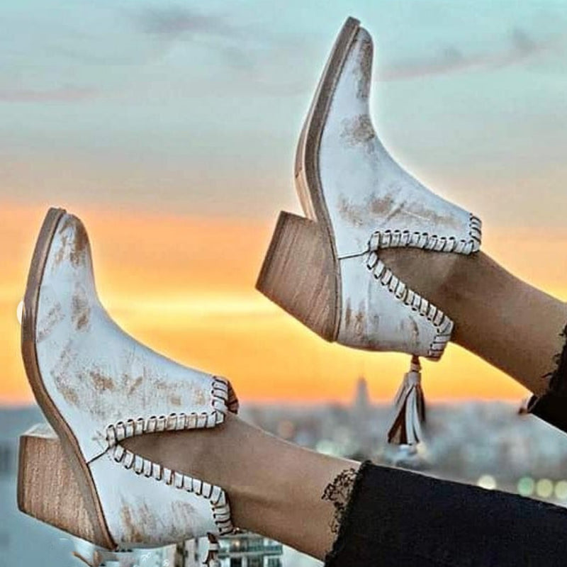 Tasseled ankle boots