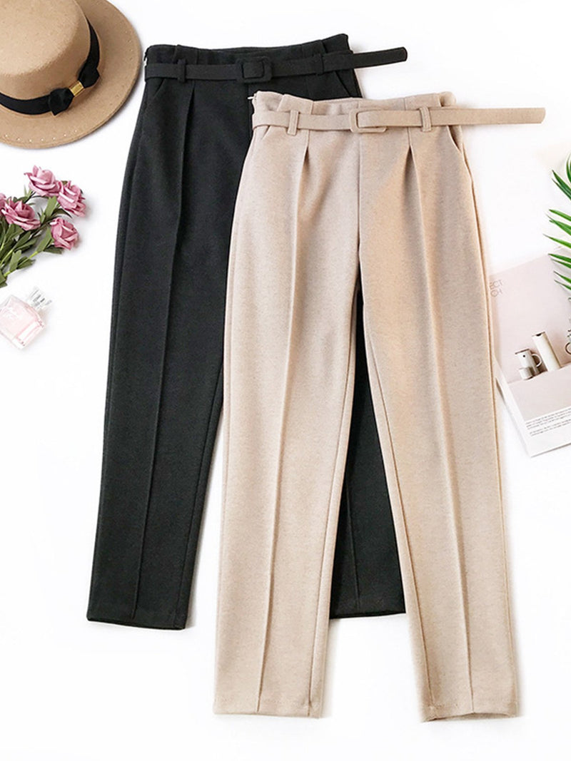 Fashion Women Pleated Plain Straight Pants
