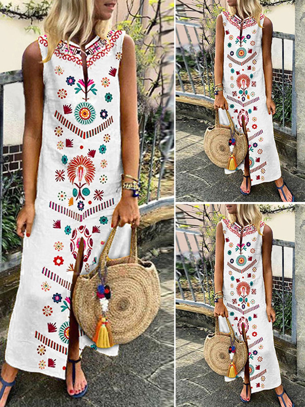 Sleeveless Bohomia Print Women Maxi Linen/Cotton Dress