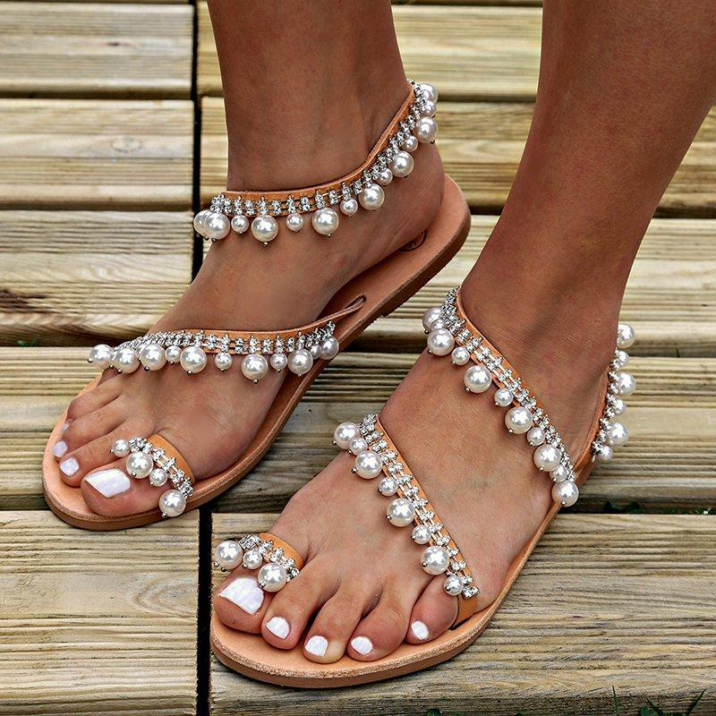 Summer Flat Sandals Plus Size Handmade Pearls Sandals