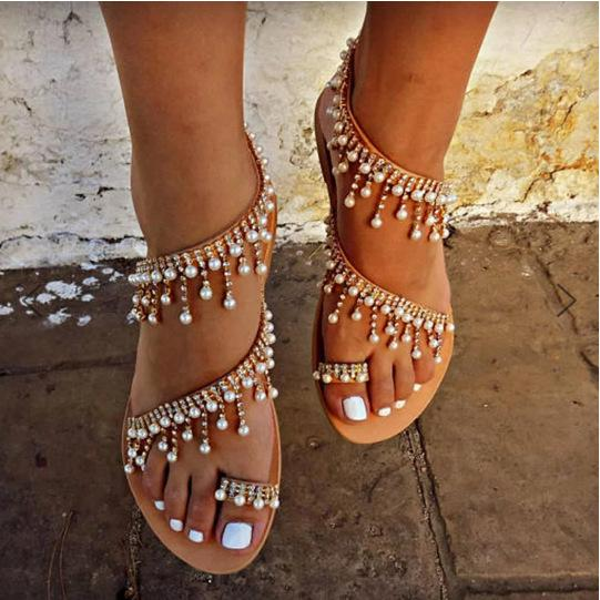 Sandals Casual Pearls Women Leather Shoes