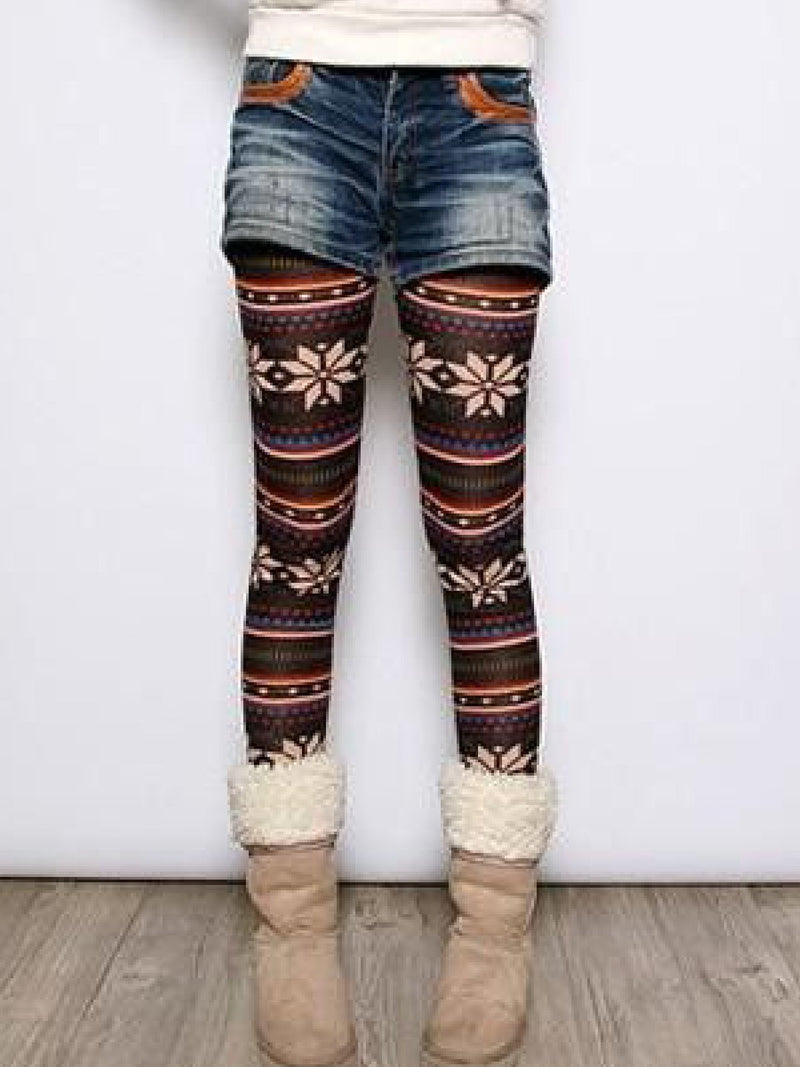 Comfortable Soft Stretchable High Rise Snowflake Legging Pants