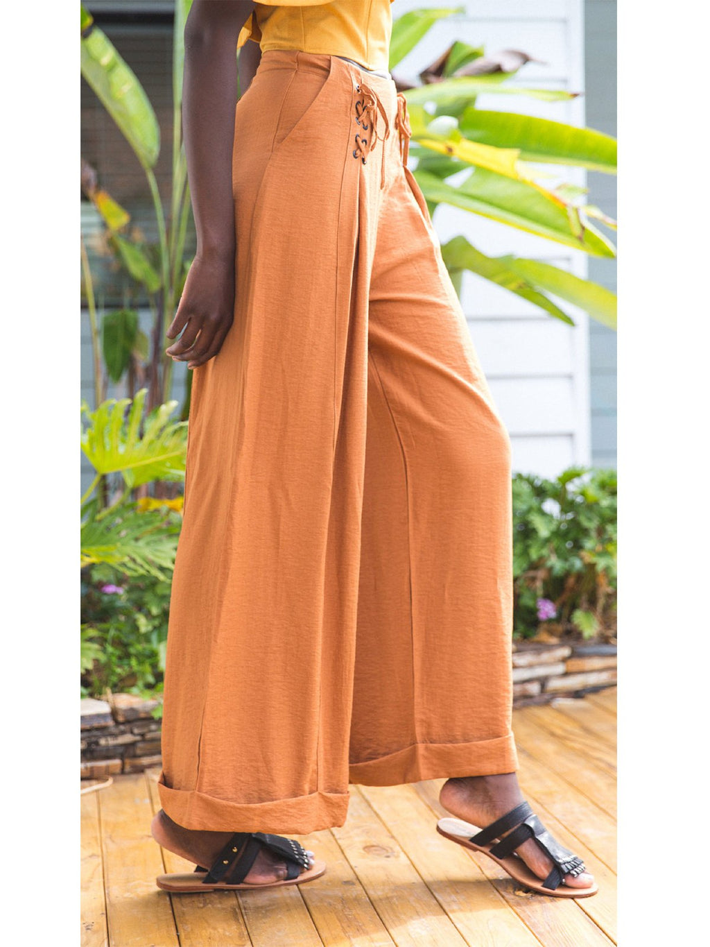 Orange Crisscross Detail Lace-Up Linen/Cotton Wide-Legged Pants