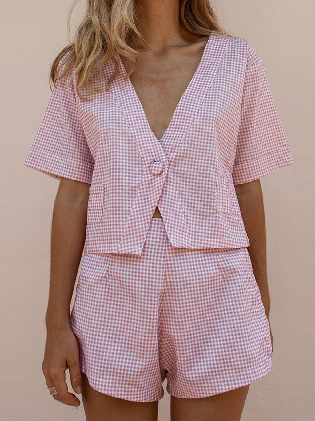 One Button Gingham Temperament Suit Shorts Suit
