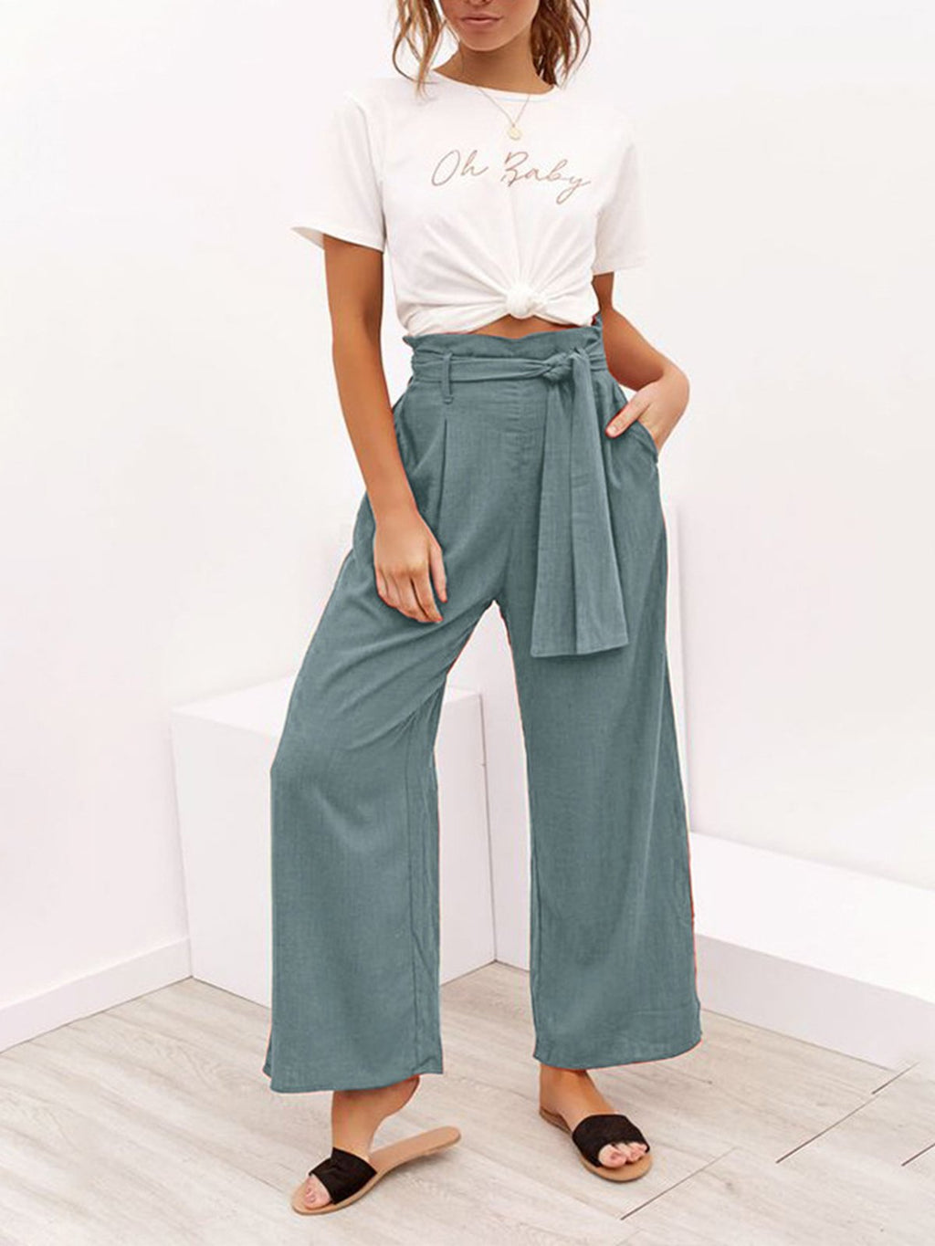 Summer/Spring Self-Tied Waist Solid Color Wide-Legged Cotton-Blend Pants