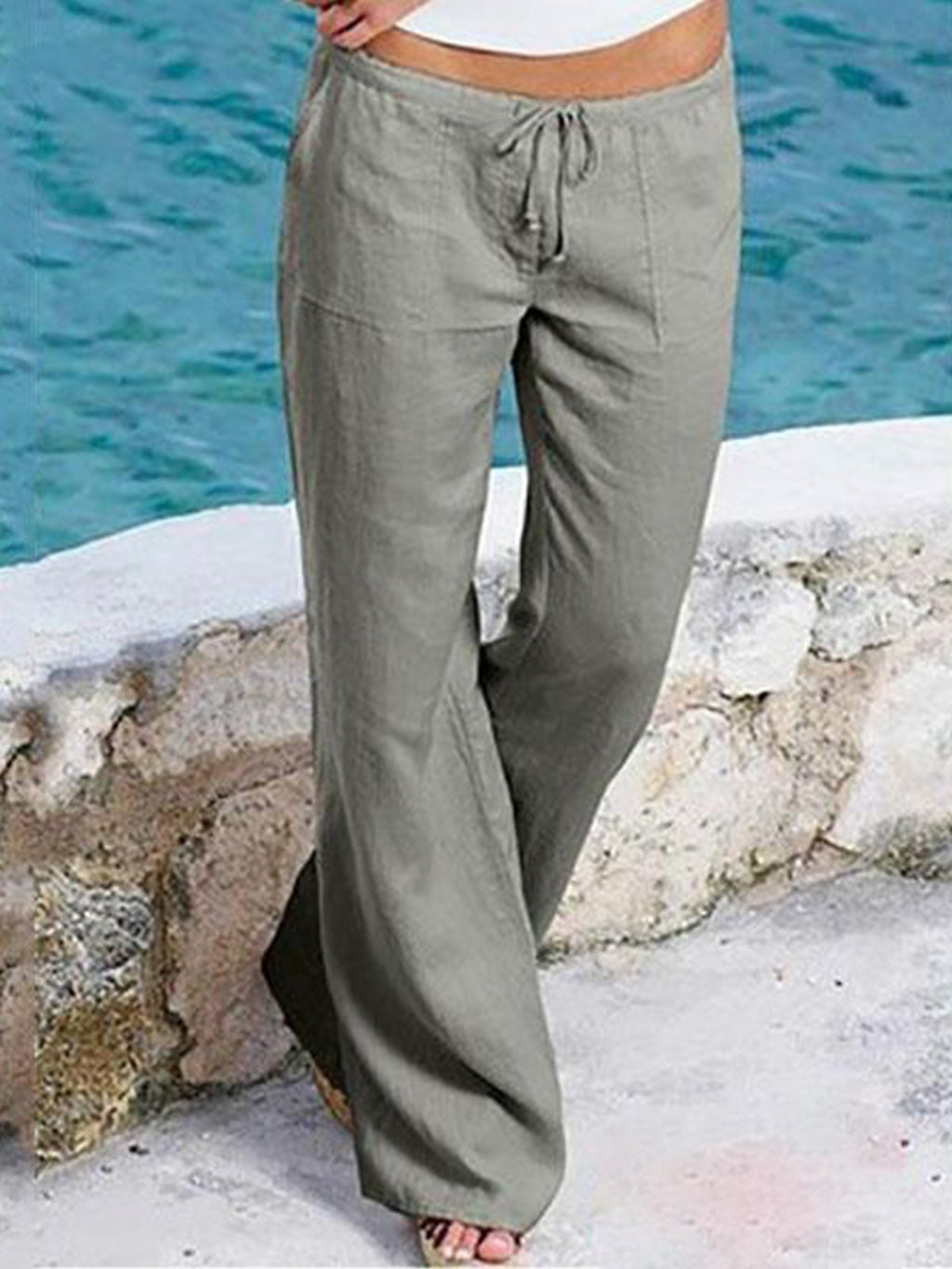 Draw-String Waist Flare Cuff With Pocket Full-Length Cotton Pants