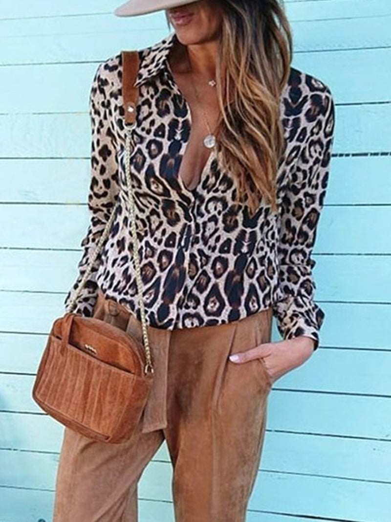 Plus Size Casual Leopard Print Long Sleeve Shirt