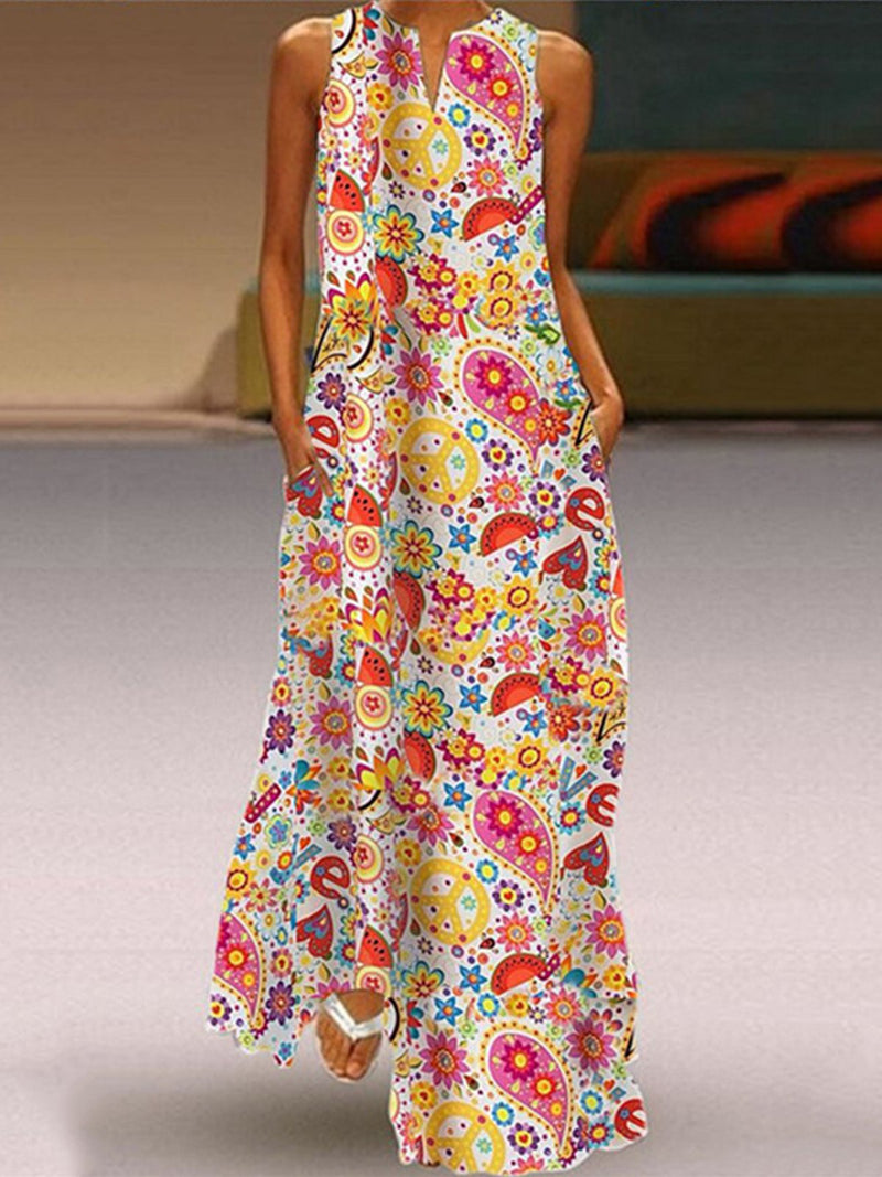 Multicolor Cute Print V Neck Sleeveless Sidekick Pocket Maxi Dress