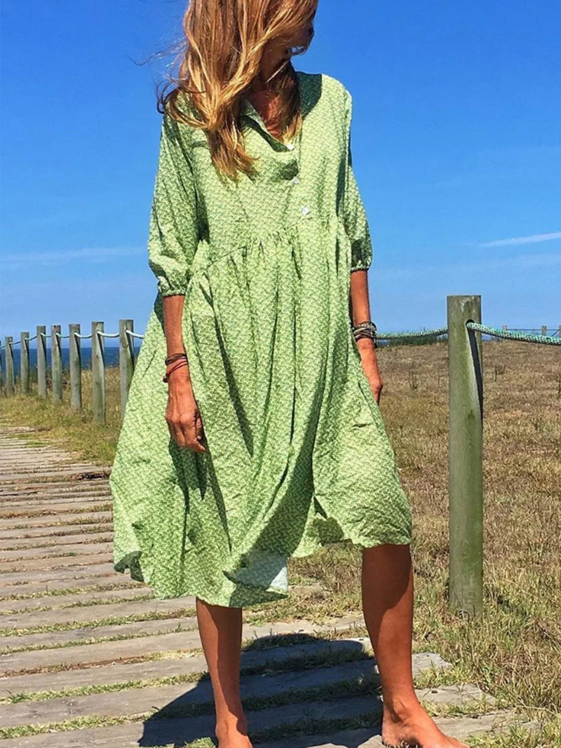 Plus Size Printed V Neck Half-Sleeved Loose Summer Holiday Dress