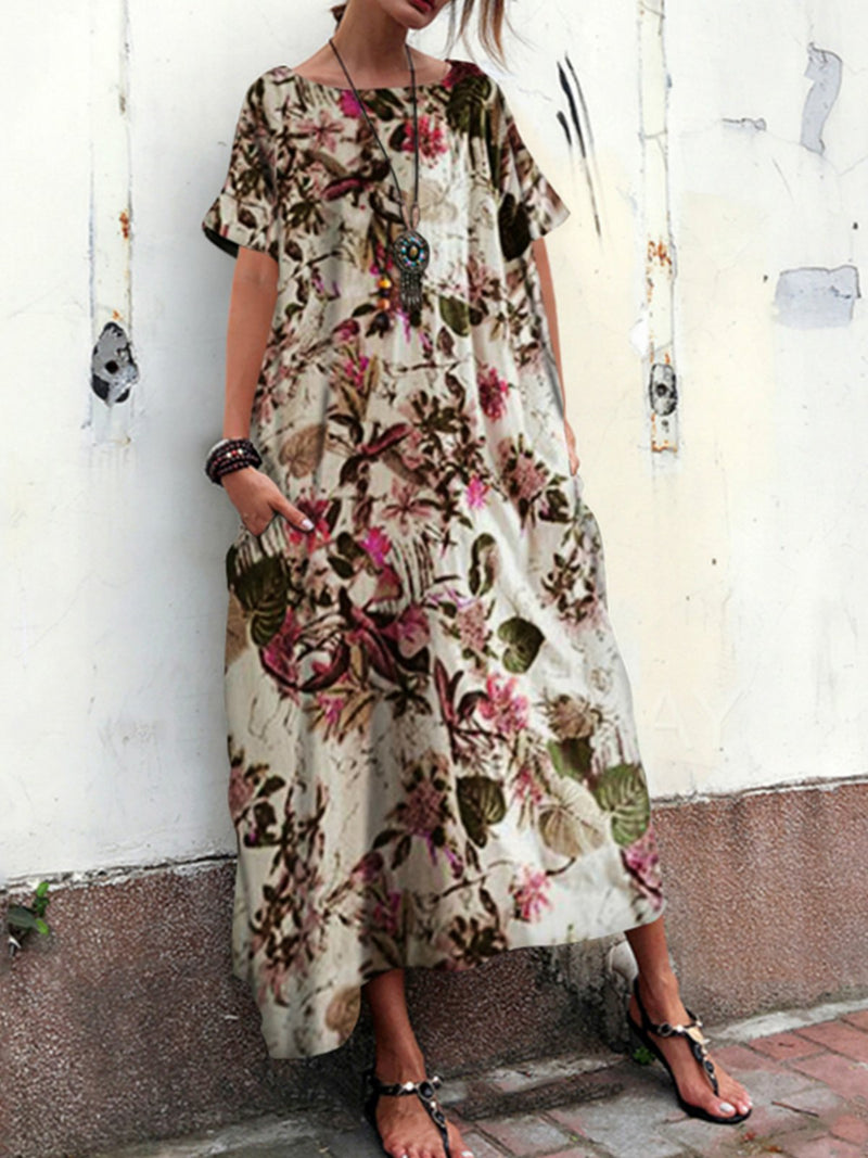 Plus Size Floral Print Beige 3/4 Sleeve Round Neck Vintage Dress