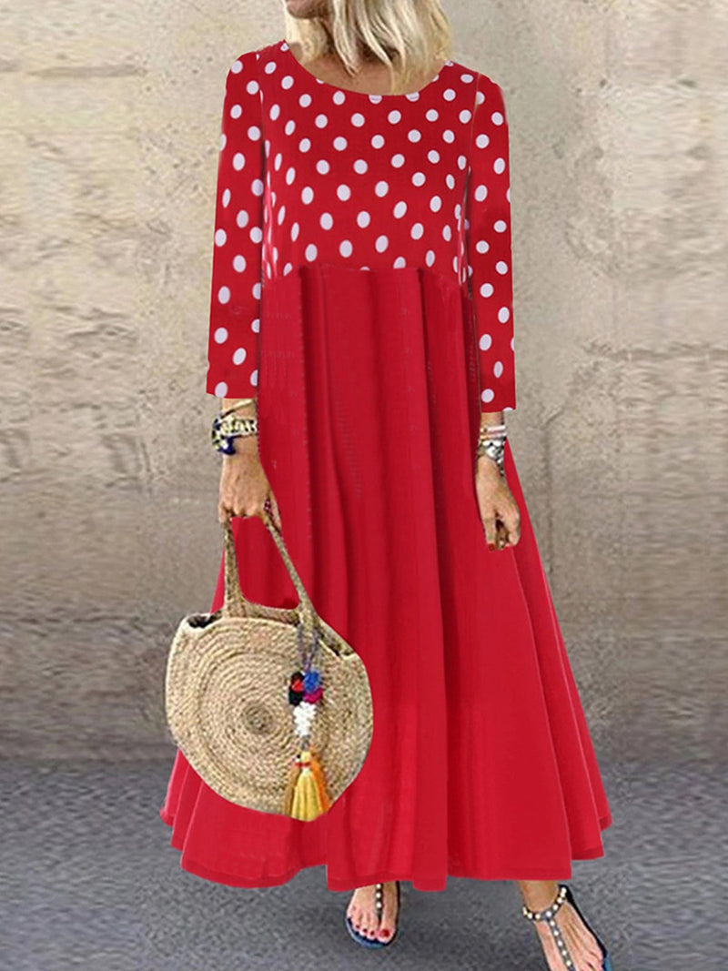 Polka Dot Print Upper Solid Bottom Long-Sleeved Swing Dress