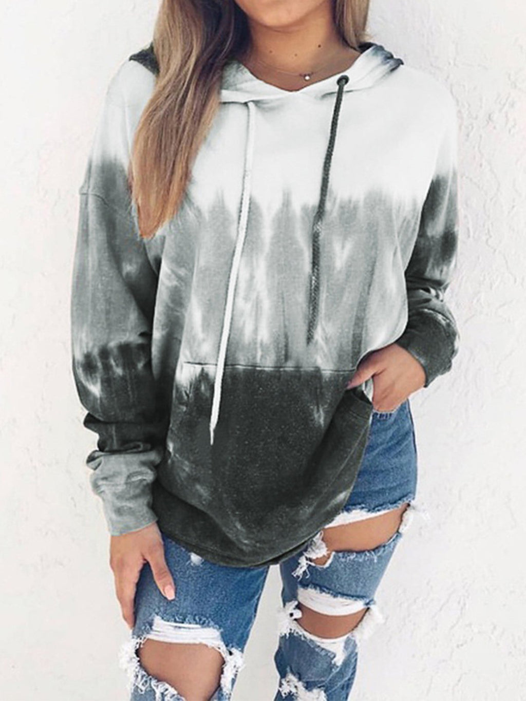 Gradient Print Color Collision String Hooded With Pocket Sweatshirt