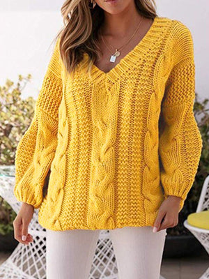 Plus Size Crisscrossed Knit Bloomer Sleeve V Neck Loose Sweater