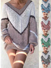 Plus Size Color Collision Geometric Loose Sweater