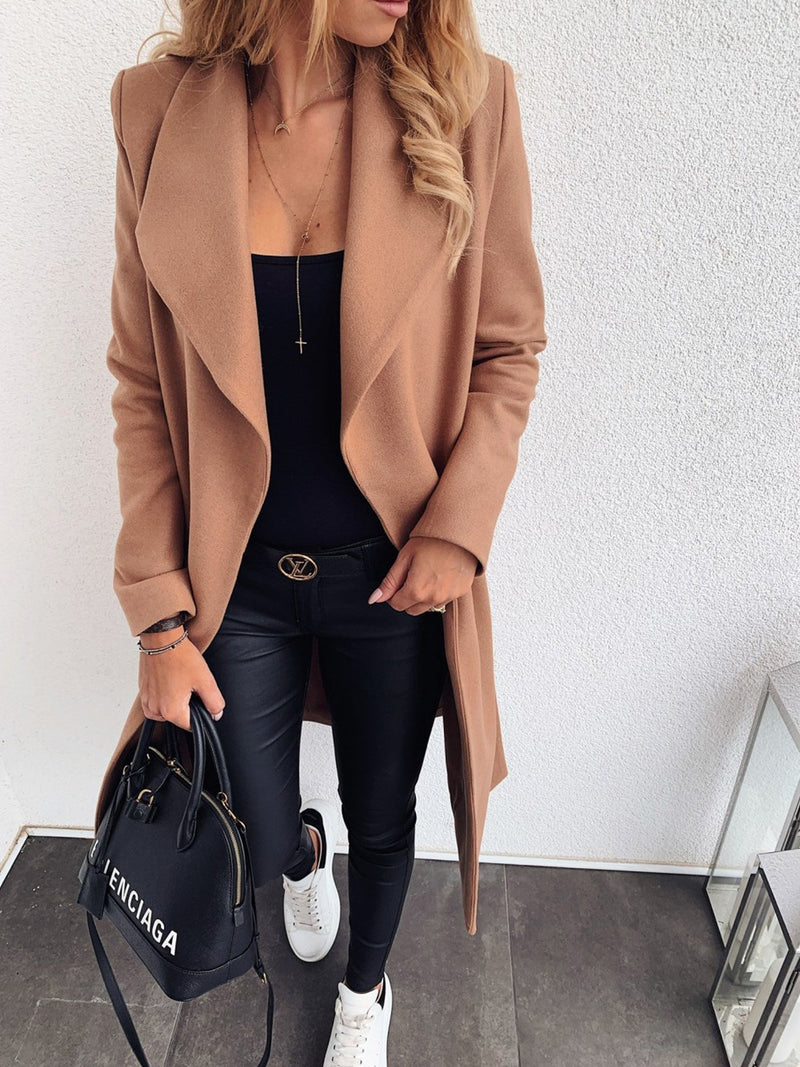 Plus Size Lapel Collar Self-Tied Long Woolen Coat