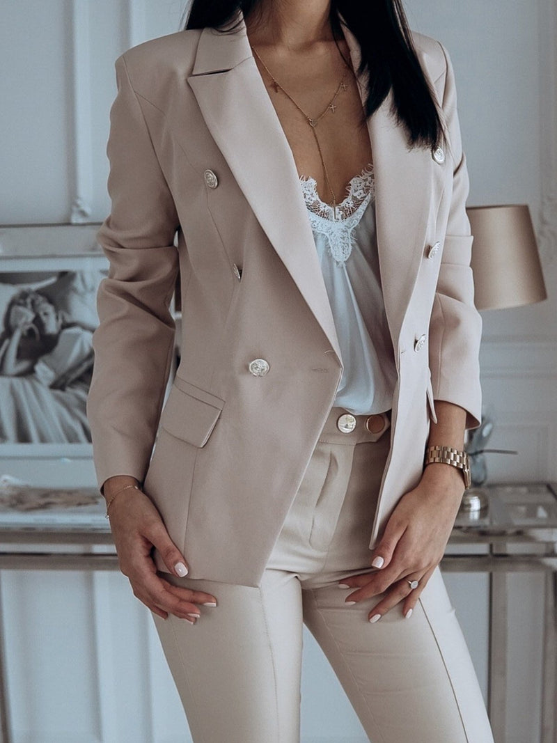 Plus Size Lapel Collar Double-Breast Short Suit Coat