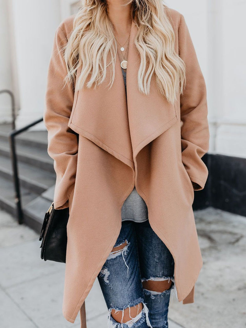 Self-Tied Lapel Collar Solid Long Coat