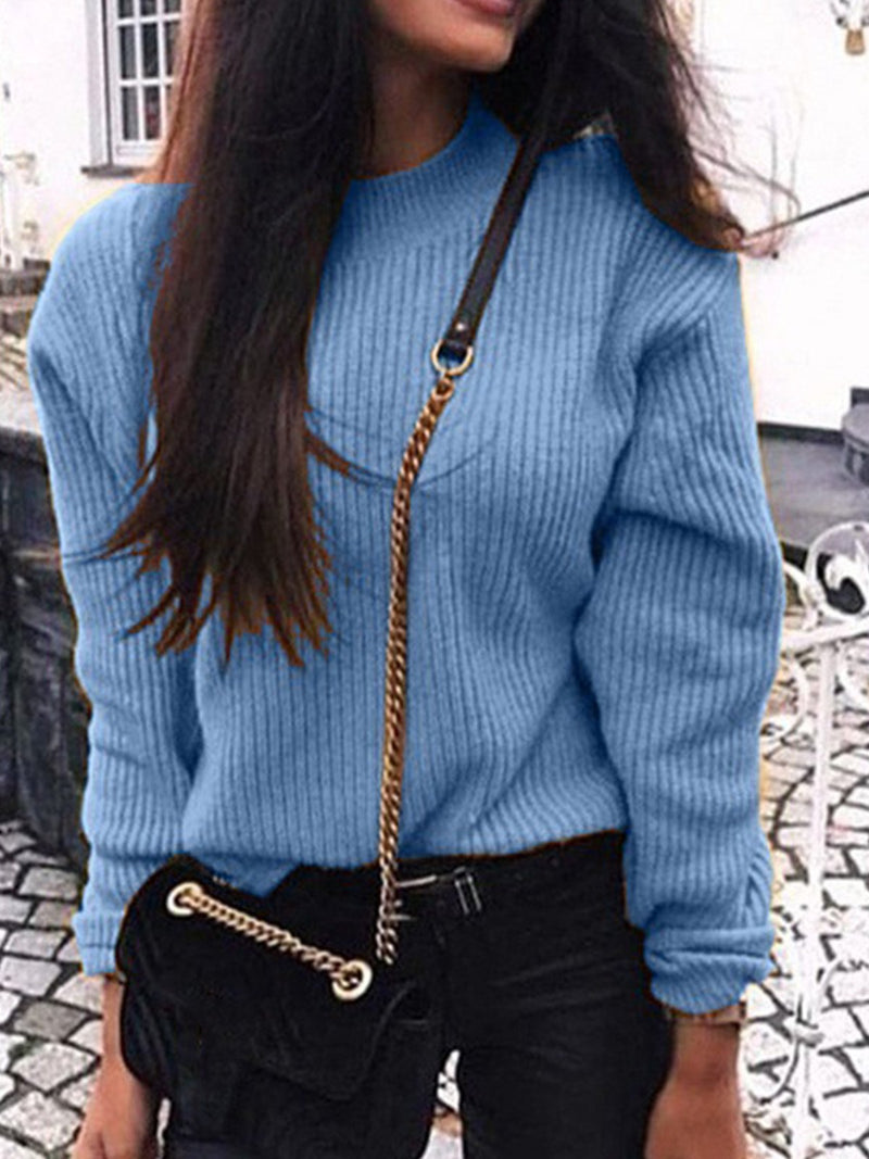 Plus Size Long-Sleeved Crew Neck Loose Knit Sweater