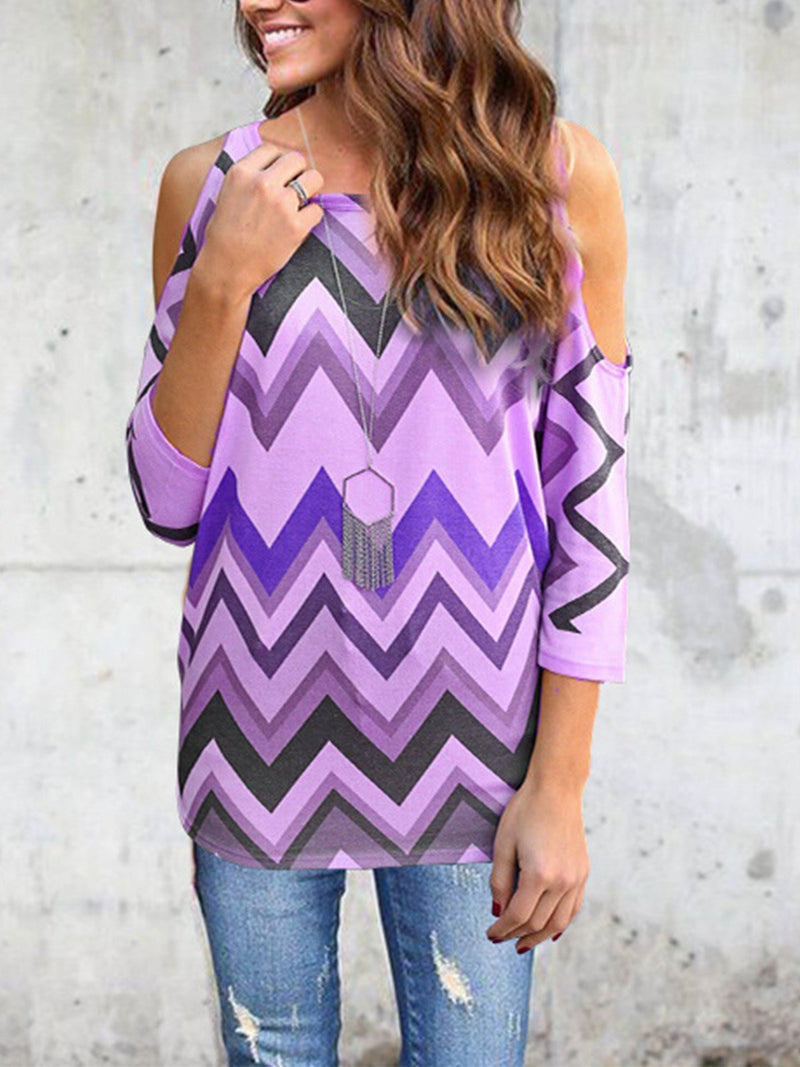 Plus Size Coloring Wave Stripe Print Cold Shoulder 3/4 Sleeve Blouse