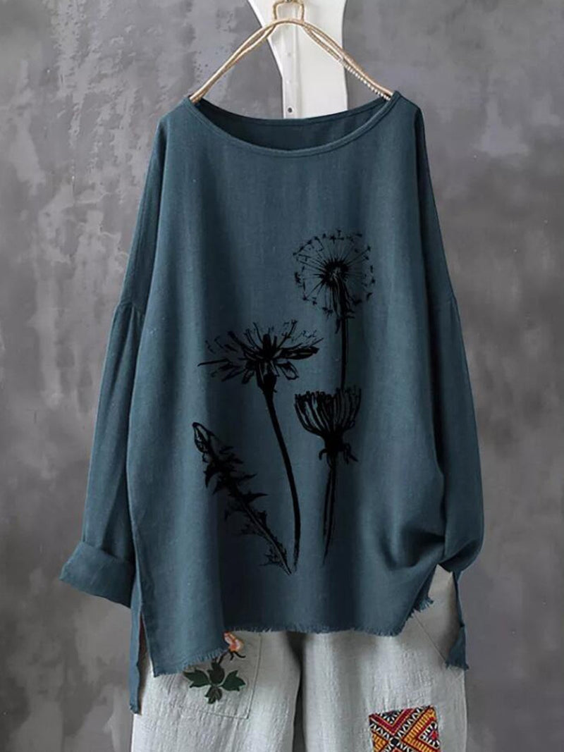 Plus Size Flower Print Round Neck Loose Cotton-Blend Autumn Blouse