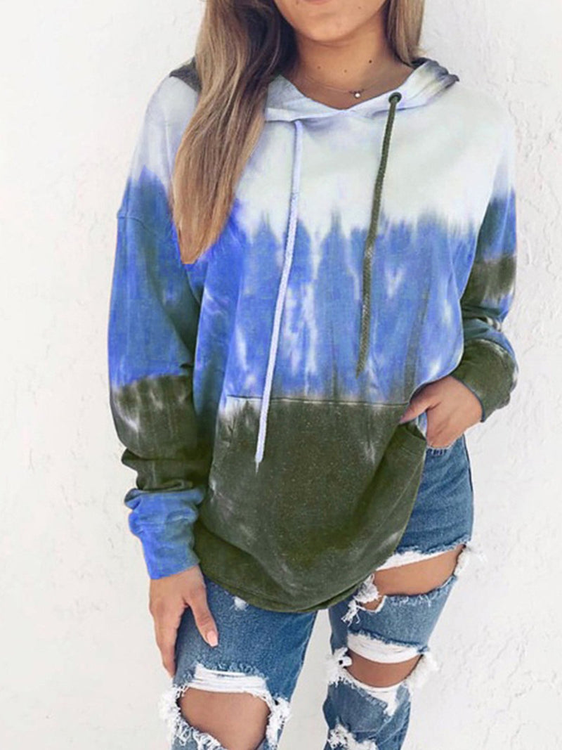 Multicolor Gradient Print Hooded Plus Velour Hoodies Sweatshirt