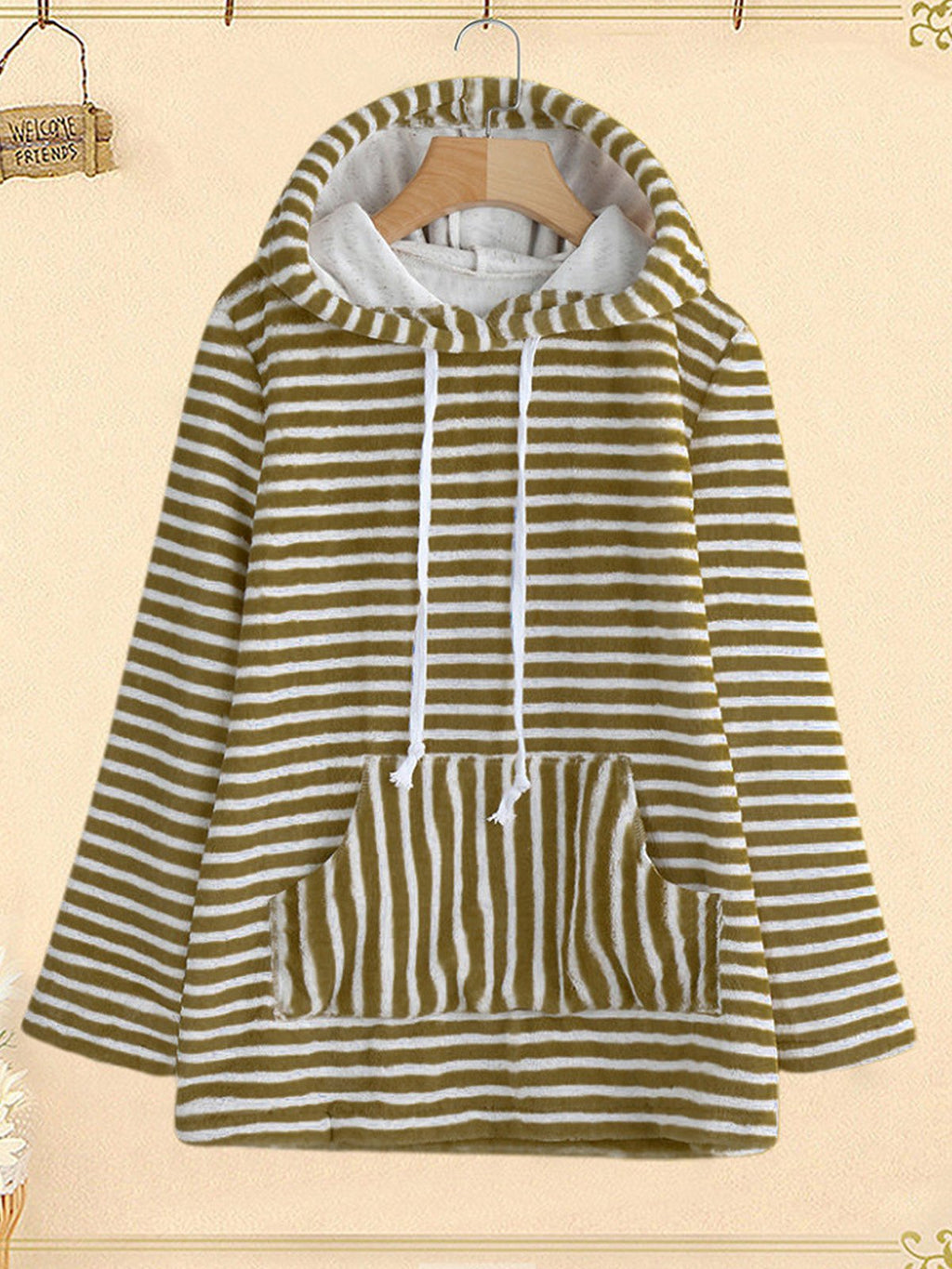 Plus Size Stripe Print Hooded With Patch-Pocket Warm Hoodies Sweatshirt