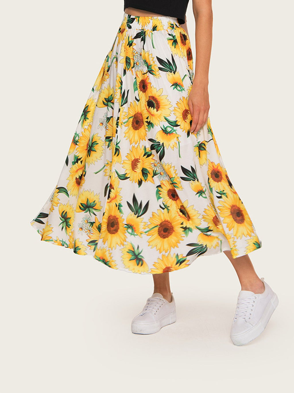 Summer Sweet Sunflower Print Long Swing Hem A-Line Skirt