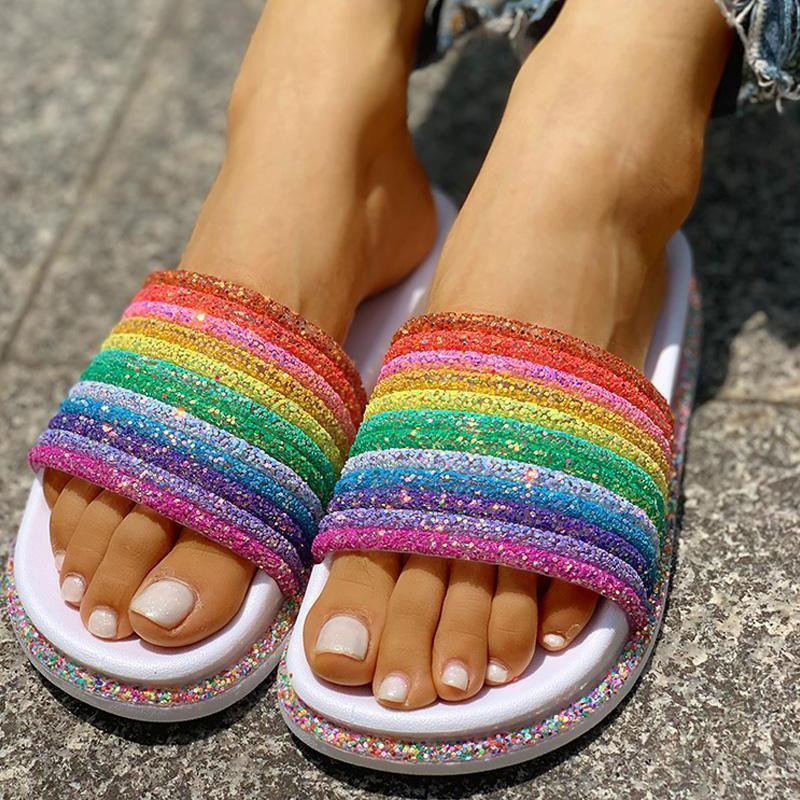 Rainbow Thick-Soled Slippers Casual Fashion Slippers