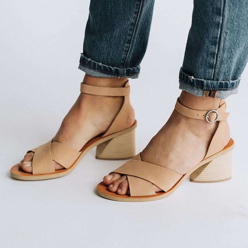 Ankle Strap Buckle Cross-Band Medium Chunky Peep Toe Sandals