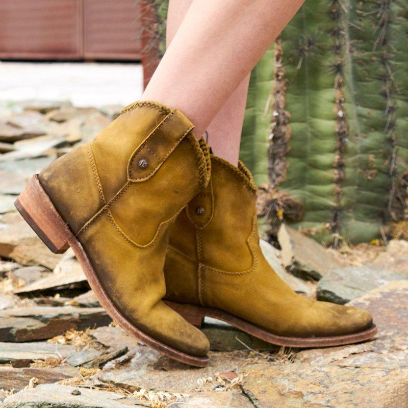 Yellow-Brown Low Heel Slip-On Artificial Leather Ankle Boots