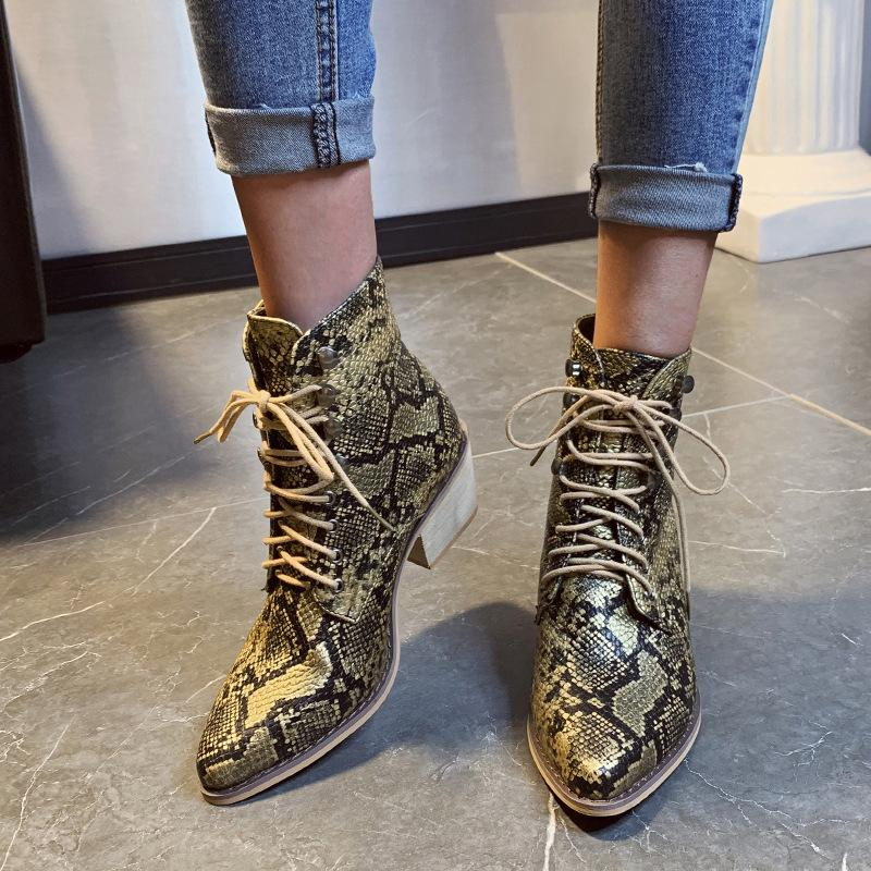 Chic Sneak Print Point Toe High Chunky Heels Lace-Up Boots