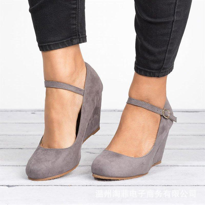 Women Velvet Ankle Buckle Wedges Heels High Heels Sandals